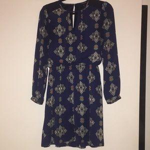Long sleeve boho pattern blue mini dress